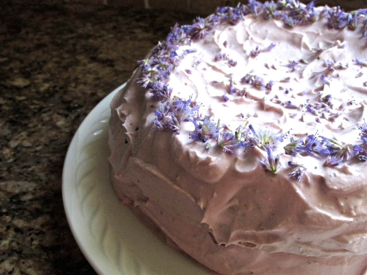 Blueberry Lavender Layer Cake with Lemon Berry Frosting (gluten free)