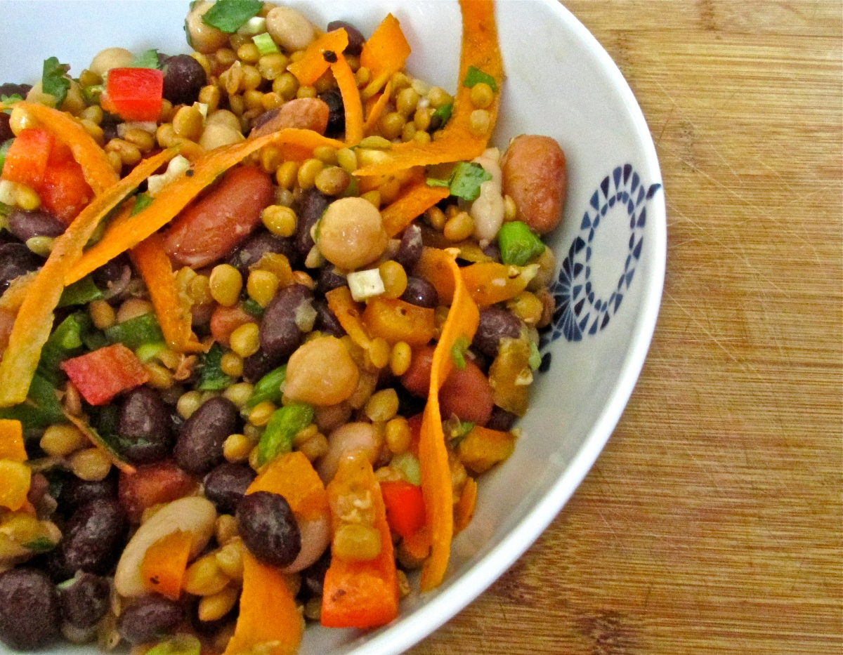 Zesty Five Bean Salad with Apple-Cumin Vinaigrette  (gluten free, vegan)