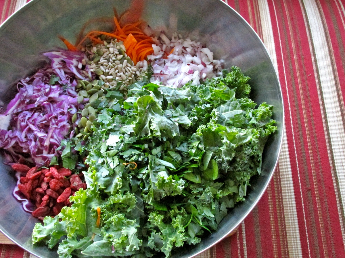 Kale Slaw with Creamy Avocado Dressing (gluten free, raw, vegan)