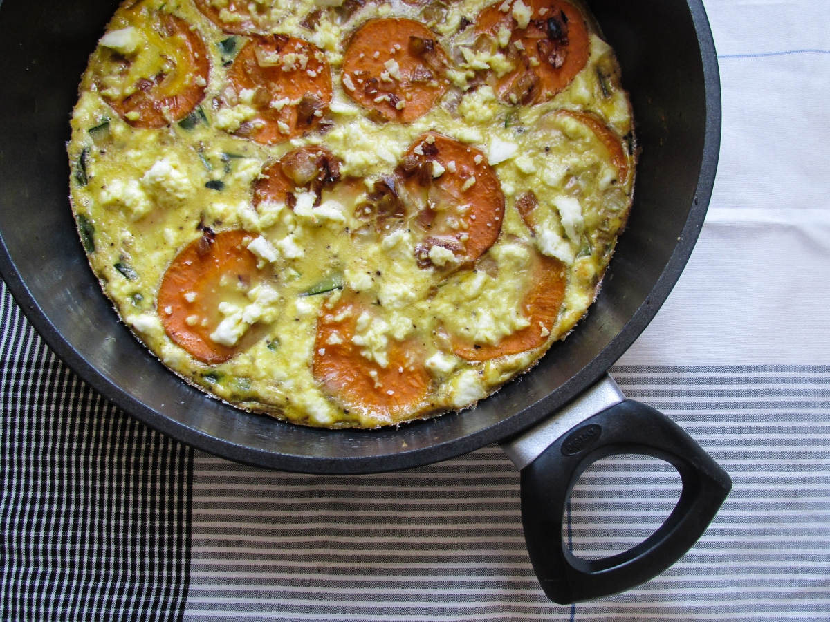 Sweet Potato Frittata with Asparagus and Salted Ricotta (gluten free)