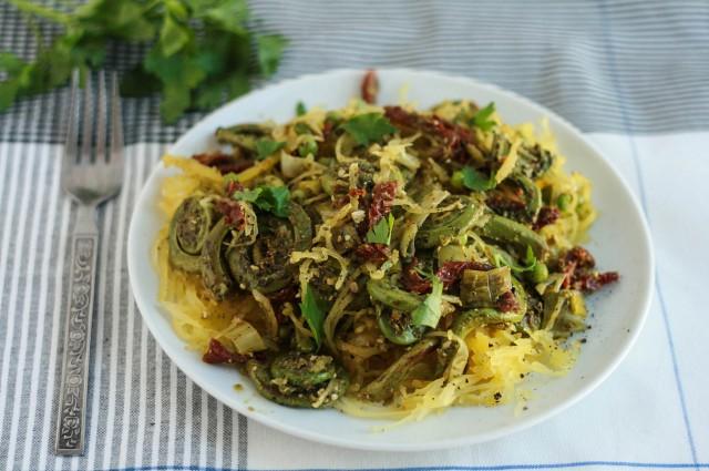 Spaghetti Squash + Fiddlehead Pasta Primavera-7