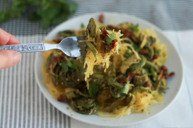 Spaghetti Squash + Fiddlehead Pasta Primavera-8